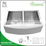 cUPC Approved Undermount Double Bowl Stainless Steel Apron Front Sink Used For Prefab Homes AP3322
