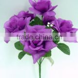 Cheap Price H32cm Purple Artificial Flower Diamond Rose Bouquet