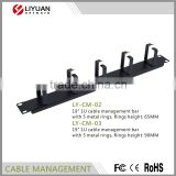 "LY-CM-02 19"" 1U cable management bar with 5 metal rings, Rings height: 65MM cable manager"