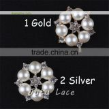 High quality star shape rhinestone crystals clothing accessories - DIY hair chiffon flower with pearls center craft flower
