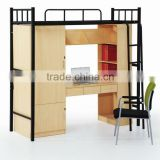2012 Hot-sales modern melamine and stainless steel frame student dormitory furniture single bed