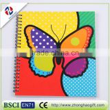 2016 Hot sale Clear Blue Plastic Cover Butterfly Notebook
