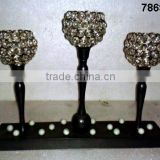 Aluminum & Glass Crystal tealight votive Candle Holder 3 candles