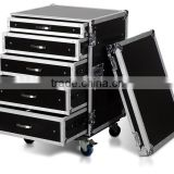 16U RACK WITH 5 DRAWERS; 2X4U, 2X3U, AND 1X2U HIGH WITH CASTER BOARD