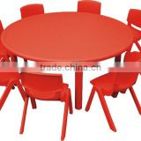 China Factory School using moon shape table kids LLDPE plastic desk and chair, kindergarten furniture