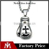 316l stainless steel pendant necklace high polished Boxing gloves necklace enamel black cross charm necklace