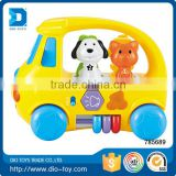 2017 Kids Toy Happy Animal Bus Bump and Go Action With Music, Animal Sounds, Lights and Education Games Great Gift