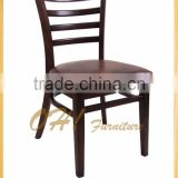 single wooden solid wood dining restaurant cafe chairs with PU cushion