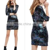 Boutique Women Clothing Wholesale Ladies Long sleeves Evening Dress with Sequined dress