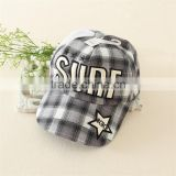Girls fashion blank denim plaid flat cap baby baseball caps printing hat for boy and girls