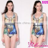 SEXY Womens European Skinny Cathedral Swimsuit One Piece Digital Print Backless swimwear