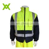 High Visibility Safety yellow Mens Winter Coats Reflective Raincoat Jacket