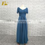 Real Sample V Neckline Short Sleeve Chiffon Formal Long Bridesmaid Dresses