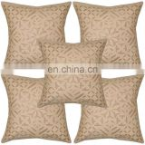 Patch Work Cushion Cut Work Beige Cotton Set of 5 Pcs. Cushion Cover