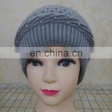 Real Wool Knitted With Raccoon Fur Pompom Beanie Hat Pretty Wool Knitted Raccoon Fur Ball hat