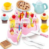 preschool hight tea DIY plastic pretend cutting birthday cake tools kitchen toy set for kids