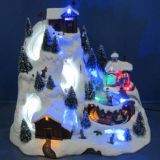 Polyresin Christmas Decoration 12'' LED mountain  sence with rotating train,dancing people,skiing childs , eight songs