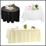 Cheap festival banquet 100% polyester heavy weight tablecloth polyester wedding table cloth