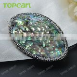 Topearl Jewelry New Design Abalone Shell Pendant Rhinestones Clay Pave Neck Pendant SPD01