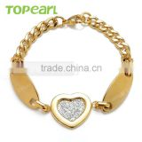 Topearl Jewelry Women Heart Stainless Steel Bracelet Curb Chain Bracelet Gold 8.25 Inch MEB60
