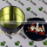 Tea tin case metal tinplate packaging box round shape christmas can