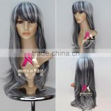 Miss U Hair Cheap Long Wavy Hair Machine Made Halloween Synthetic Women Grey Color witch Party Cosplay Wig