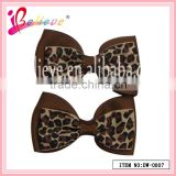 Kids wholesale elegant handmade double layers flat mini snap ribbon bow hair clips (DW-0007)
