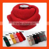 Wholesale Wool Knitted Plain Color Circle Loop Women Winter Scarf