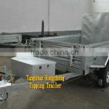 Hot dipped galvanized hydraulic 8x5 tipping trailer/ tipper trailer/ farm trailer