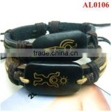 2012 unique black bracelets, couple bracelets, ox bones leather bracelets for lovers AL0106