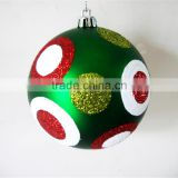 2016 wholesale plastic / glass custom silkscreen pattern glitter hand painting logo printed christmas ball