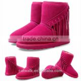 Rose red tassel boots fashion winter snow boots woman wedge boots lady shoes safety shoes keep warm