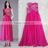 2014 Elegant sequin patchwork sleeveless designer women maxi party dress wholesale F17072