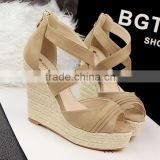 New sandals bohemia high heels platform wedges sandals straw braid wedges shoes sandals strap wedge lady sandals shoes