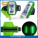 (Factory direct) lycra armband for iPhone 6 plus, reflective armband for samsung galaxy, LED mobile phone armband