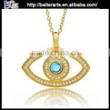 Wholesale evil eye necklace 925 sterling silver blue eye pendant necklace blue crystal pendant necklace