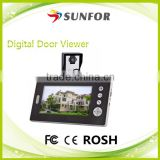"7"" Apartment 2.4GHz wireless door bell hidden camera with Doorbell and Two-way Intercome Function"