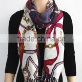 Chain Printed Acrylic Scarf with fringe