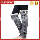 A-13 women button down knit boot socks knit leg warmers with buttons knee high lace trim leg warmers