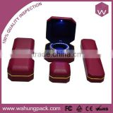 PU leather RED Led light jewelry boxes /blue LED light box for gift wholesale (WH-3718-JL)