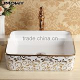art basin factory wasing basin face wash basin bathroom sink ceramic basin in gold color