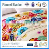 Factory Price Knitted Home Textile Flower print Blanket Flannel Fleece Throw