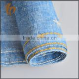 trending hot products indigo dyed cotton fabric linen cotton indigo denim fabric with printing