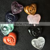 Natural Crystal Heart Stone Carved Skull Face Crystal Ornaments