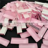 Beautiful shiny pink opal color rectangle shape 7x21 mm faceted glass colored stones. fancy stone with different sizes on sell