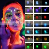 Glow in the dark black light body paint face body color luminous fluorescent neon blue makeup maquiagem metallic flash tattoo