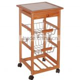 BBQ wooden trolley serving trolley with glazed tile surface