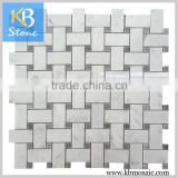 Basketweave carrara white marble mosaic with veins for floor