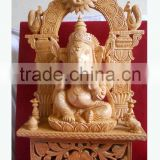 Wooden Handicraft wood Carving Hindu God Ganesha Rich Art And Craft Jaipur Rajasthan India Artisan Statue sculpture Fine