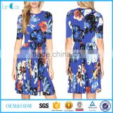 2017 latest fashion style round neck short sleeve A line print dresses in plus size dress